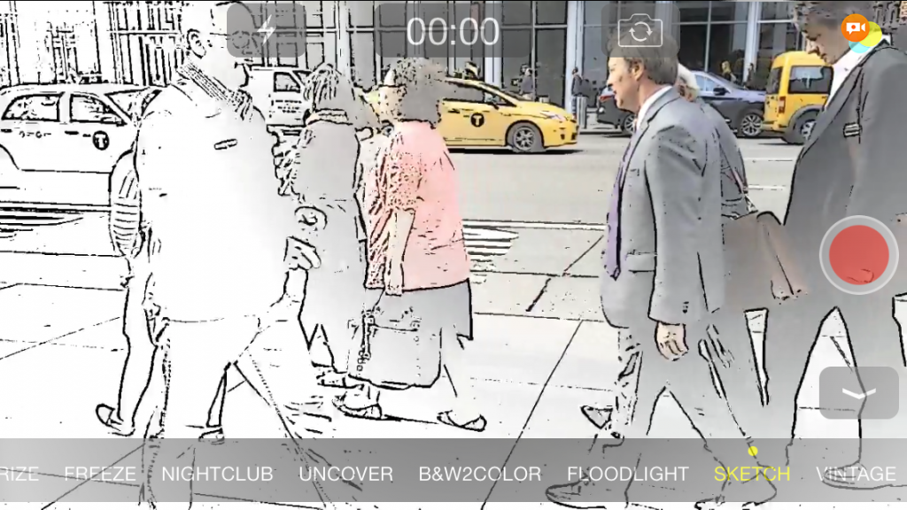 Spotliter Video recorded with Sketch Effect - NYC Taxi