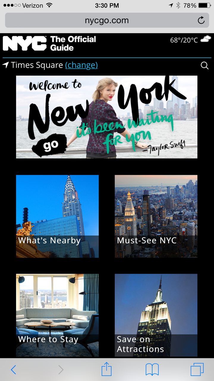Taylor Swift welcomes you to New York City