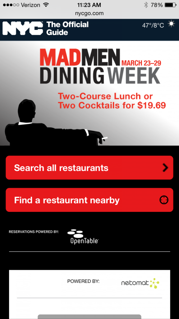 Mad Men Dining Week mobile homepage